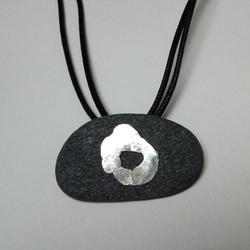 slate pendant on cotton cord