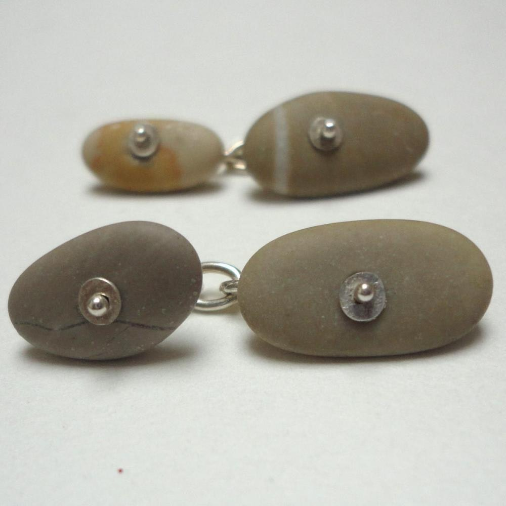 cufflinks with putty coloured stones