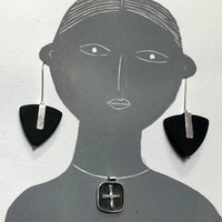 Slate earrings and silver and oxodized cross pendant