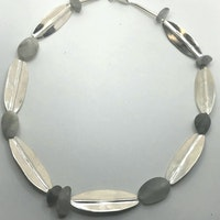 Leaf shaped silver with Quartz pebbles
