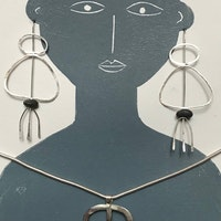 Silver drawn earrings and pendant